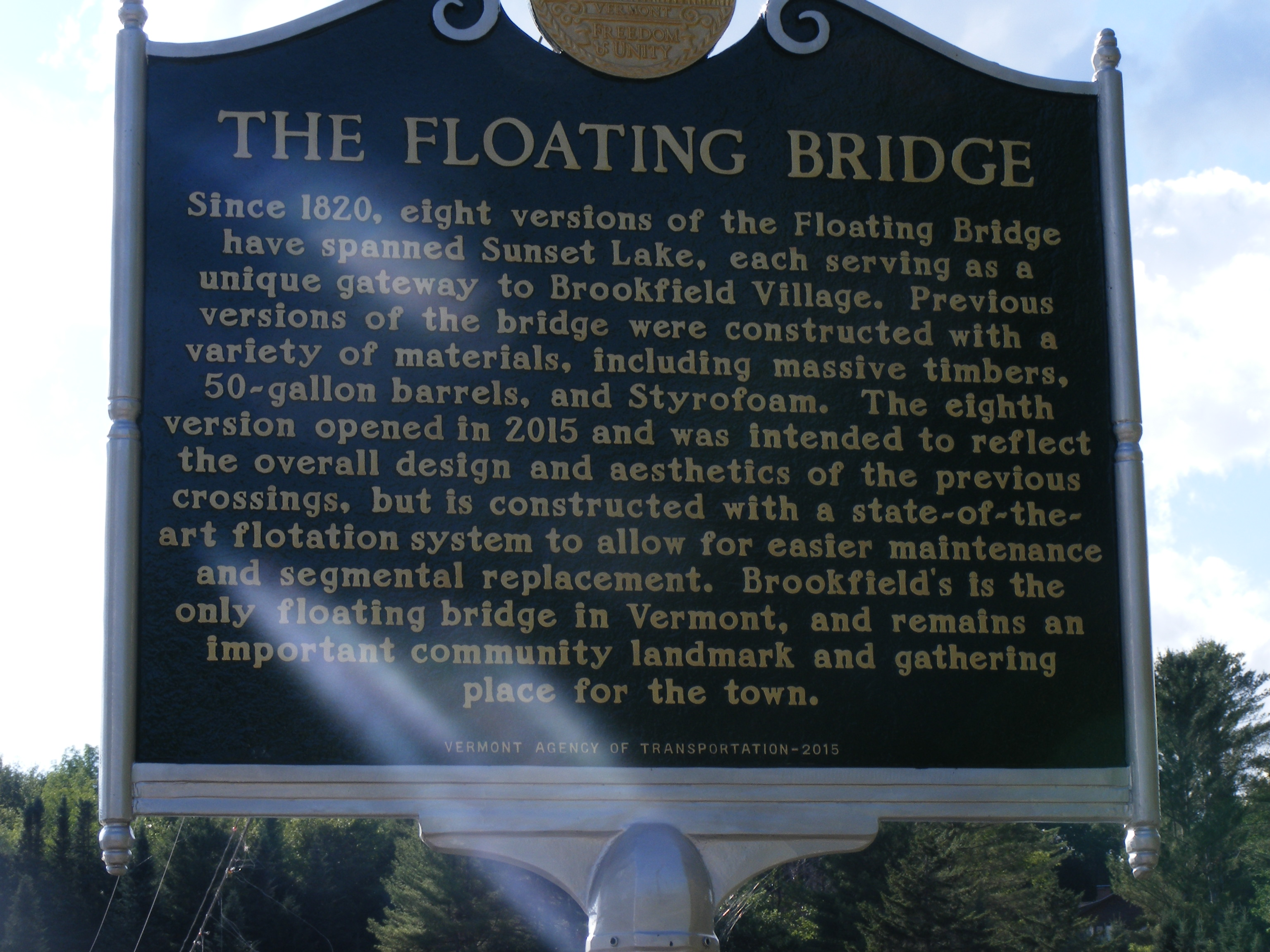 Historical Marker - Brookfield, VT Floating Bridge