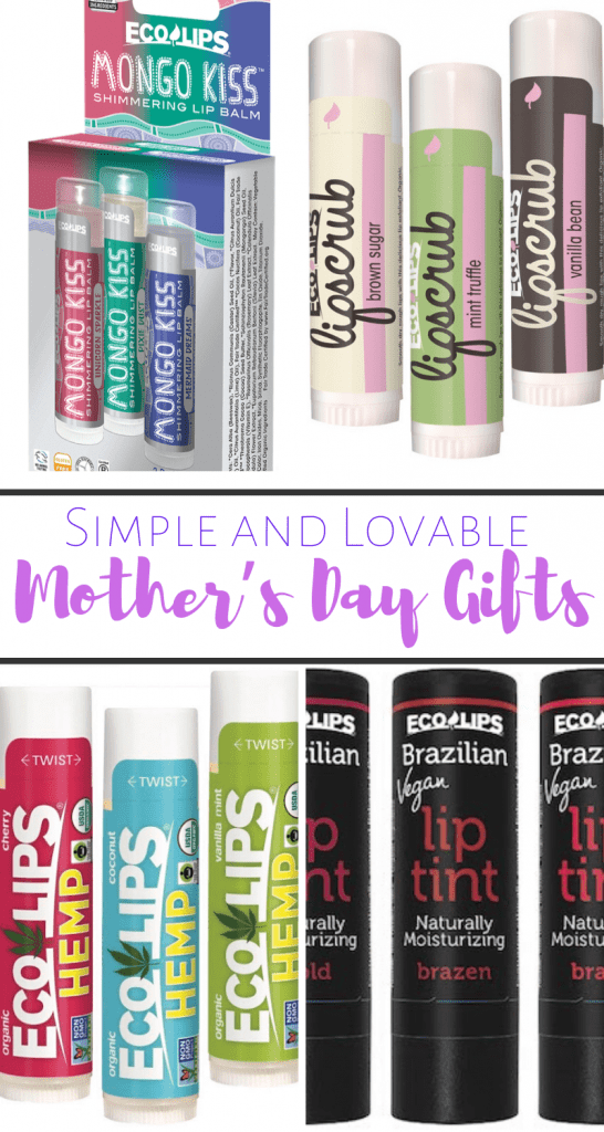 Pinterest friendly image for mother's day gifts of eco lips lip balm