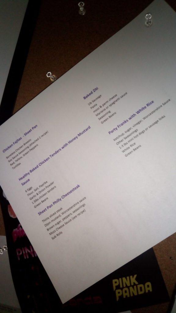 photo of Brandy Ellen's meal planning word document setup.