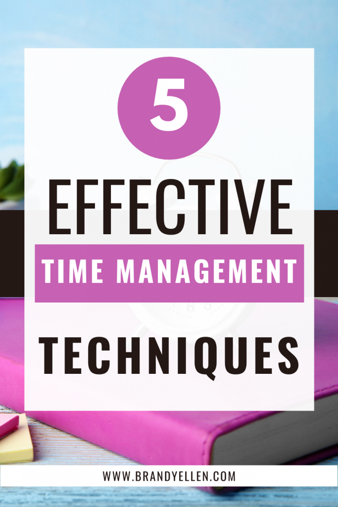 pinterest image that has a book and sky background with words 5 Techniques to Improve Your Time Management Skills