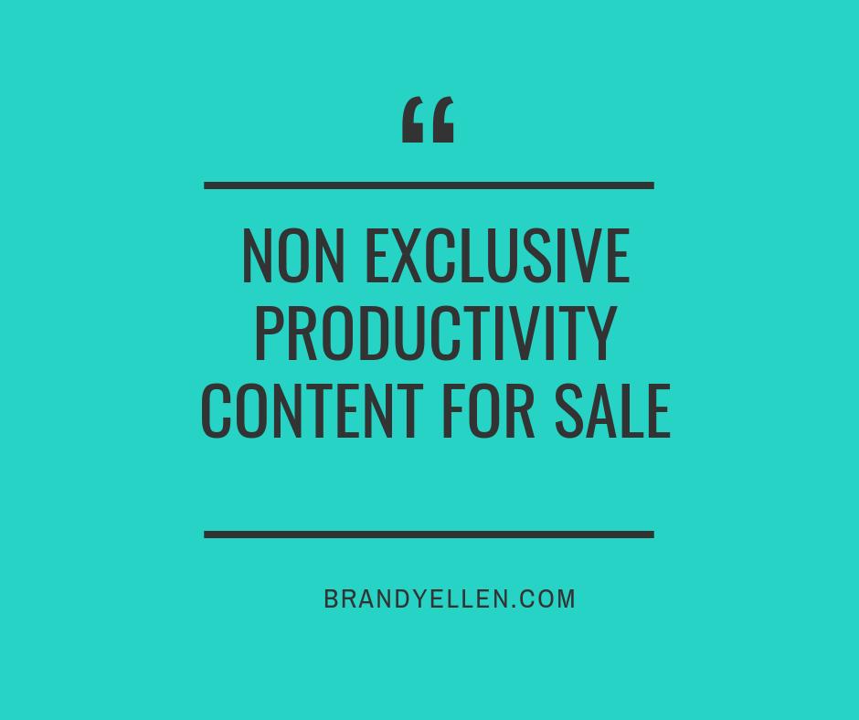Non Exclusive Productivity Content For Sale